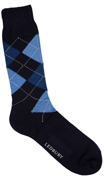 The Black and Navy Layton Argyle Sock
