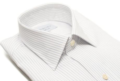 The White Pinstripe 120 Slim Fit collar