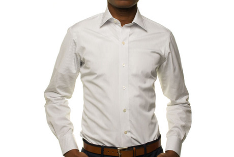 The White Pinstripe 120 Slim Fit modelcrop