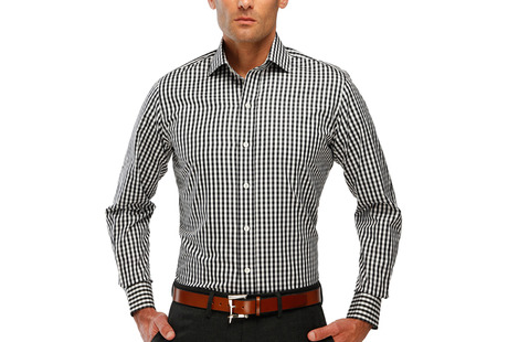 The Black Parker Gingham modelcrop