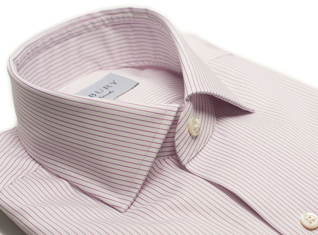 The Purple Henley Stripe Twill collar