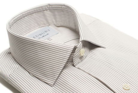 The Navy Henley Stripe Twill collar
