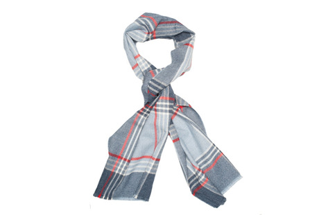 The Braden Block Check Merino Scarf collar