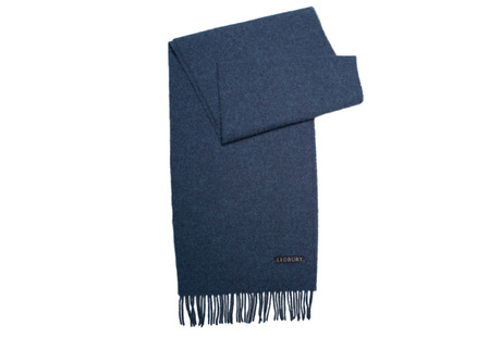 The Blue Camden Lambswool Scarf modelcrop
